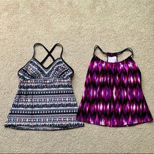 Large Tankini Black Pink Purple Swimsuit Tops